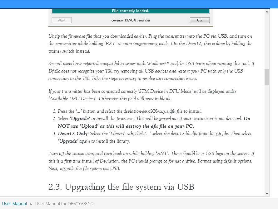 Deviation - How to upgrade with Devo 12S - DEVIATION Forum